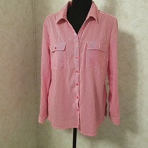 Kim Rogers pink & white blouse